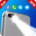 Flash on call and sms:Bright flashlight alert 2018 icon