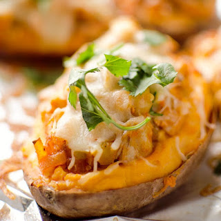 Baked Buffalo Chicken-Topped Potatoes