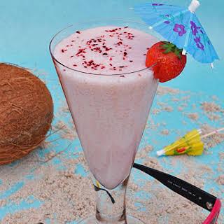 Virgin Strawberry Piña Colada (alcohol free Piña Colada).
