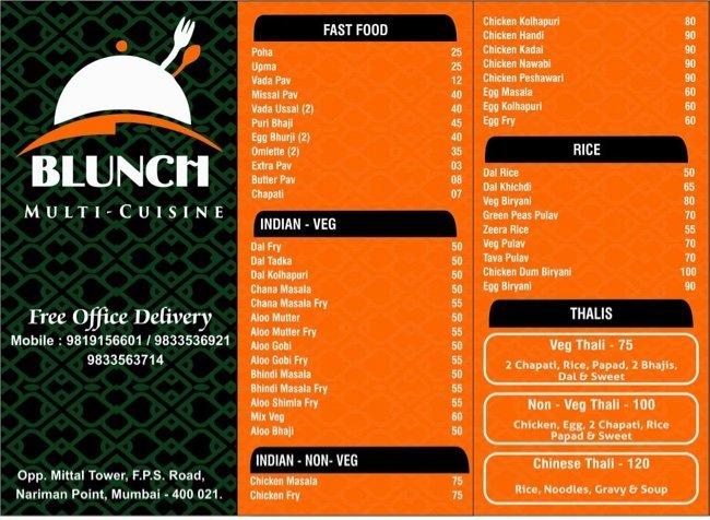 Blunch  menu 1