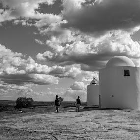 Walking to infinity by Miguel  Galvão - Novices Only Landscapes ( clouds, old, évora, monochrome, miguel galvão, black and white, alto de são bento, alentejo, ruins, portugal, windmills, granite )
