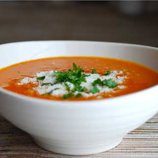Creamy Roasted Carrot And Red Pepper Soup.