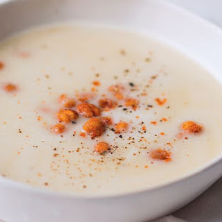 Roast Garlic Soup With Crispy Chickpea Croutons