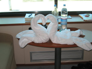 Photo: Our cabin staff got creative with the towels one day.  Our room was very comfortable, 155 sq. ft. with two sofas that converted into beds.  A small shower was my only complaint.