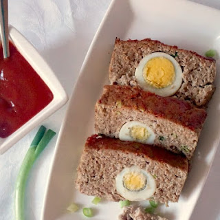 Moist Turkey Meatloaf With Hard-Boiled Eggs.