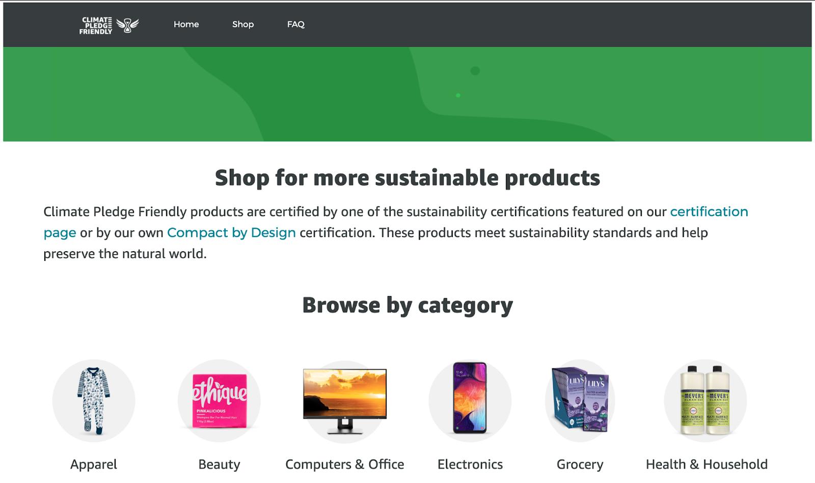 Amazon Climate Pledge Friendly Store