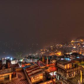 Gangtok at night by Shikhar Sharma - Landscapes Starscapes ( lights, hills, gangtok, cityscape, homes )