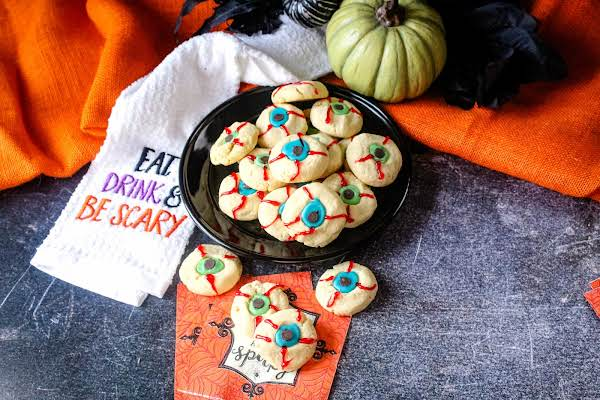 A Platter Of Spooky Eyeball Cookies.