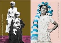 2 foto's: echtpaar met kind op schoot en meisje in witte jurk en blauw/witte sjaal over en langs haar hoofd