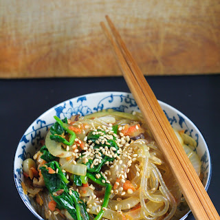 Japchae (Korean stir fry noodles with vegetables)