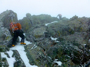 Photo: Nearing the summit. The winds were less intense than on Ellingwood but still annoying