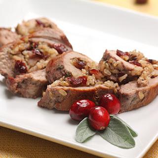 Cranberry Walnut Stuffed Pork Tenderloin.