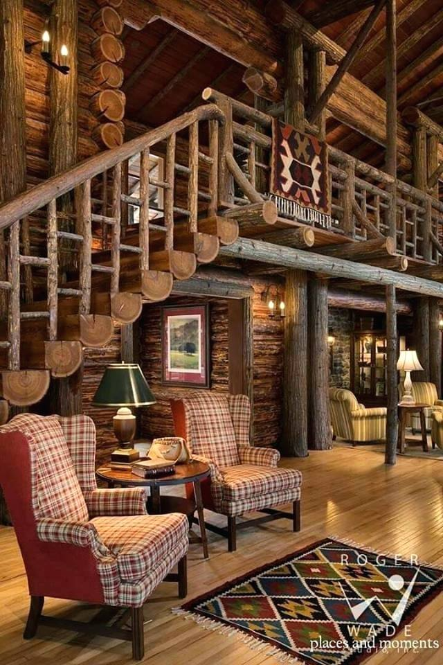 Unique Whole Log Staircase Design