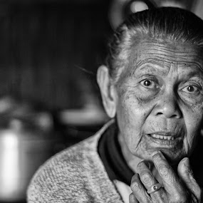 My precious grandma by Wira Suryawan - Black & White Portraits & People ( love, amazing, person, hero, care, contest, photo, grandmother, portrait,  )