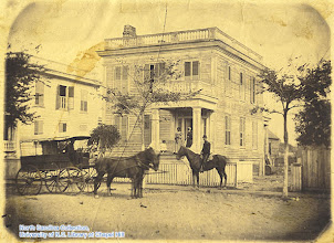 Photo: Leecraft House at 307 Ann Street in Beaufort, March 1862. A mounted orderly, Lt. C.M. Dusher, is in front.