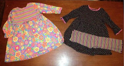 Photo: Hanna Anderssen Playdress size 90 on left. Gymboree 2T playdress with matching lettuce edged leggings on right.