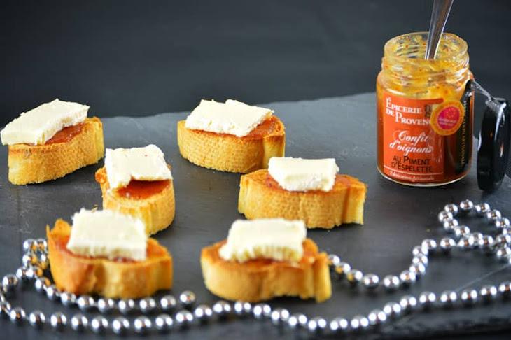 Camembert Bites on Onion Confit Recipe