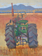 """Photo: """"Brentwood Tractor"""", acrylic painting 16"""" x 12"""" by Nancy Roberts, copyright 2015.  Corporate collection."""