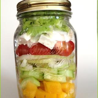 Clean Eating Salad in Mason Jar - Greek Style.