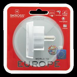 SKROSS Single Adapter Europe, Reseadapter från världen till EU, max 16A 220/250V, jordad, vit