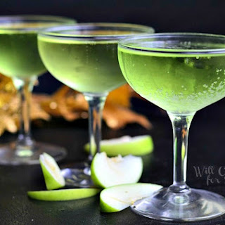 Luscious Sour Apple Champagne Cocktail.