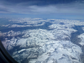Photo: view of snowy Alps from airplane