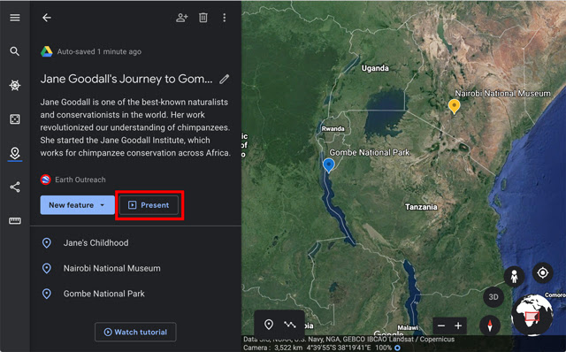 "Screenshot of ""Jane Goodall's Journey to Gombe"" presented in a narrative format."