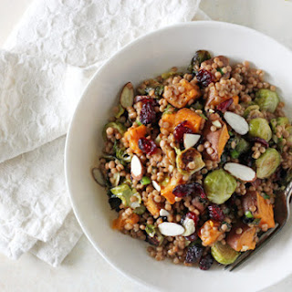 Brussels Sprout and Sweet Potato Israeli Couscous Salad.