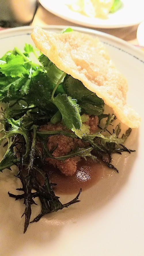 Langbaan PDX Chefs Who Inspire Dinner with Justin Woodward, Second course of Sweetbread, beef tendon, little gems, black lime