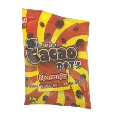 chocolate senor cacao dots naranja 30gr