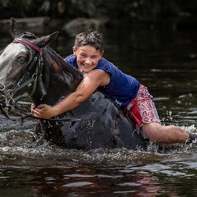 Holding On by KT Allen - People Street & Candids ( horse, travellers, appleby, gypsy, river )