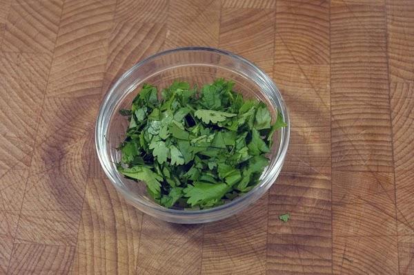 Rough chop the cilantro.