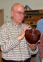Photo: Mike Colella with a walnut bowl.