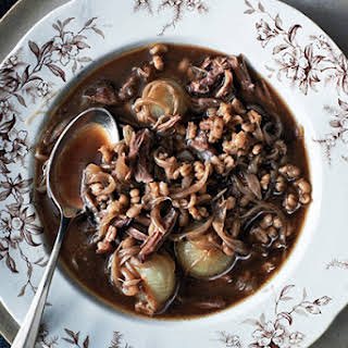 Oxtail Soup with Onions and Barley.