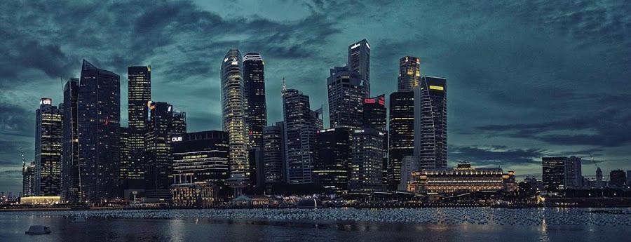 Singapore Skyline Panorama by Paul Carter - Landscapes Travel ( water, skyline, panoraman architecture, singapore )