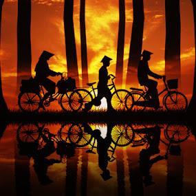 Let's Go Home by Adya Saputra - Digital Art People ( family, sihouette )