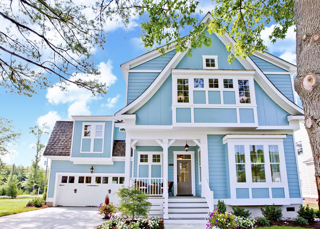 blue siding with white trim