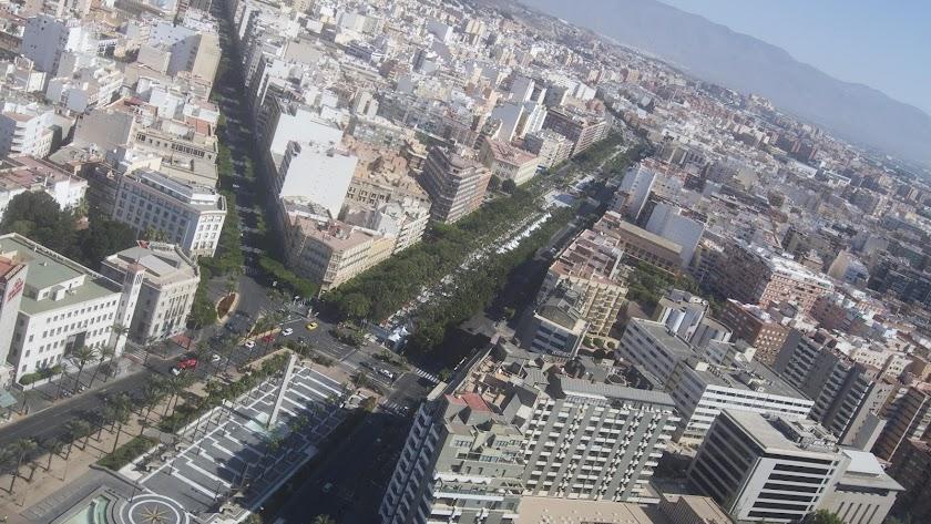 Vista aérea de la confluencia de Paseo y Rambla