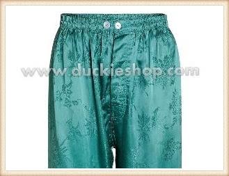 กางเกงใส่นอน ชุดนอนผู้ชายขายาวผ้าแพรจีนแท้เอวยางคนอ้วน ขนาดใหญ่พิเศษ XXL สีเขียว