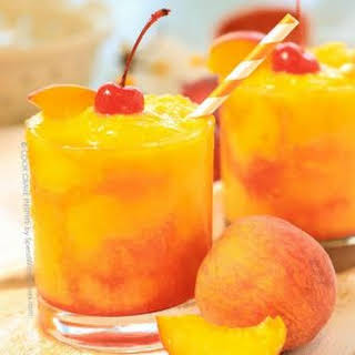 Frozen Peach Champagne Cocktail.