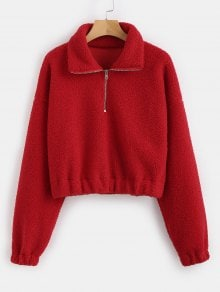Half Zip Plain Faux Fur Sweatshirt