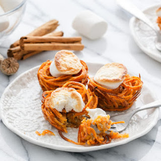 Mini Spiralized Sweet Potato Casseroles.