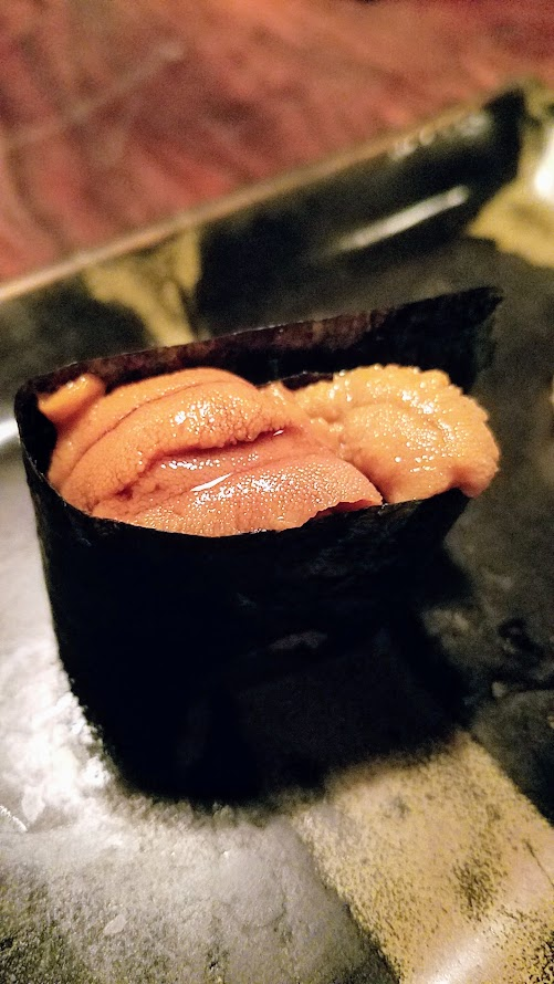 Fukami 19 course dinner of small plates and sushi: Uni, sea urchin from Hokkaido