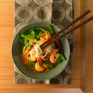 Asian Rice Noodle and Shrimp Soup.