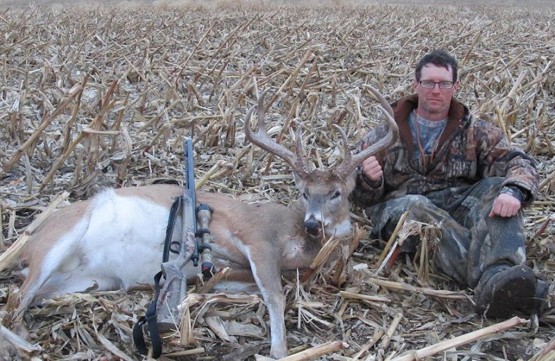"""Photo: """"I shot this odd Iowa giant 6 pointer on Christmas day with my Lk-93...i up graded it to the 209 this year...With a hotter ignition it shoots flatter and is more consistent then ever before...i shot him at 200 yards and made a perfect shot...I didn't think my 16 year old gun could shot any better, i was wrong..."""" Jeremy Tompkins"""