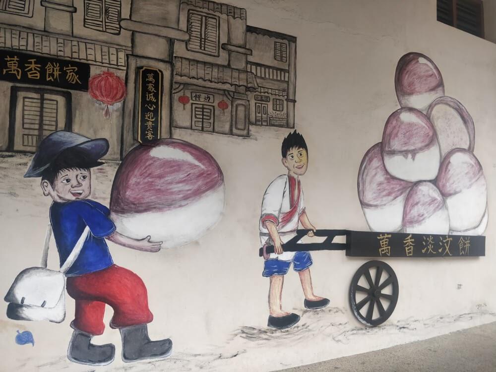 boys+loading+dimsum+carts+street+art+penang+city+malaysia
