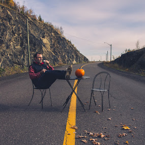 Man and his coffee by Patrick Provencher - People Portraits of Men ( road, man, table )