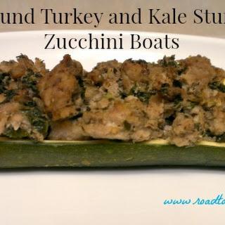 Ground Turkey and Kale Stuffed Zucchini Boats.