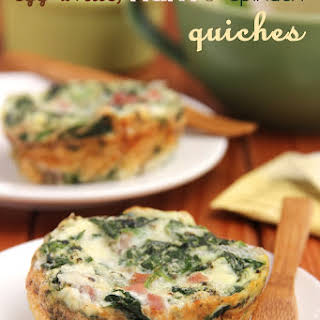 Egg White, Ham & Spinach Quiches.