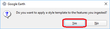 Select Yes, to apply a style template